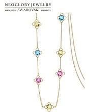 Neoglory Kristall Bunte Lange Anhänger Halskette Geometrische Perlen Kleid Für Dame Partei Verziert Mit Kristallen Von Swarovski
