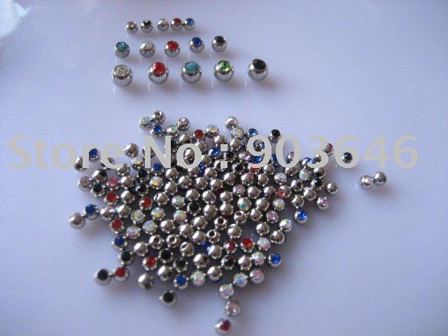 Envío Gratis 100 unids/lote cristal Bola de Gema cuerpo de repuesto piercing joyería 16g x 3mm