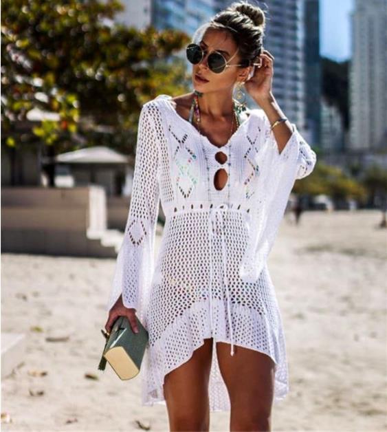 Praia cobrir até crochê de malha tassel tie beachwear túnica longo verão maiô cobrir sexy ver vestido de praia