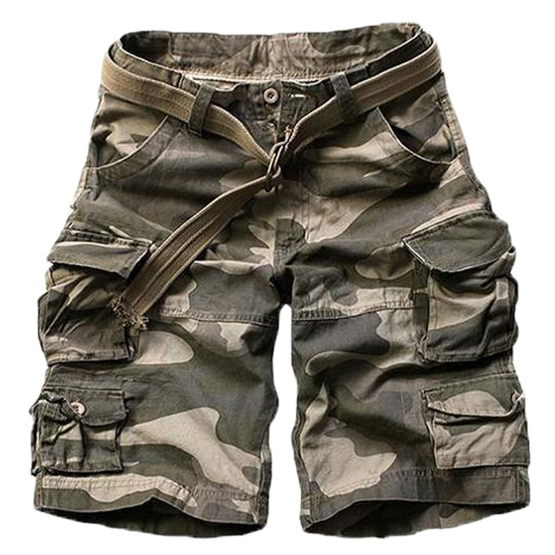 High Quality Military Style Men Camouflage Cargo Shorts Multi Pockets LooseTactical Military Shorts For Men Plus Size No Belt men s camouflage style lace up slimming elastic shorts