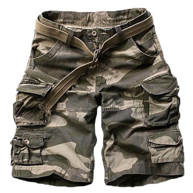 Pantalones cortos militares de camuflaje de alta calidad para hombre, pantalones cortos militares de talla grande sin cinturón