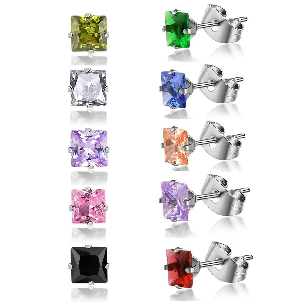 1 пара, 10 цветов, Модные Популярные Роскошные серьги-гвоздики из нержавеющей стали с кубическим кристаллом 5 мм и квадратным камнем из циркон...