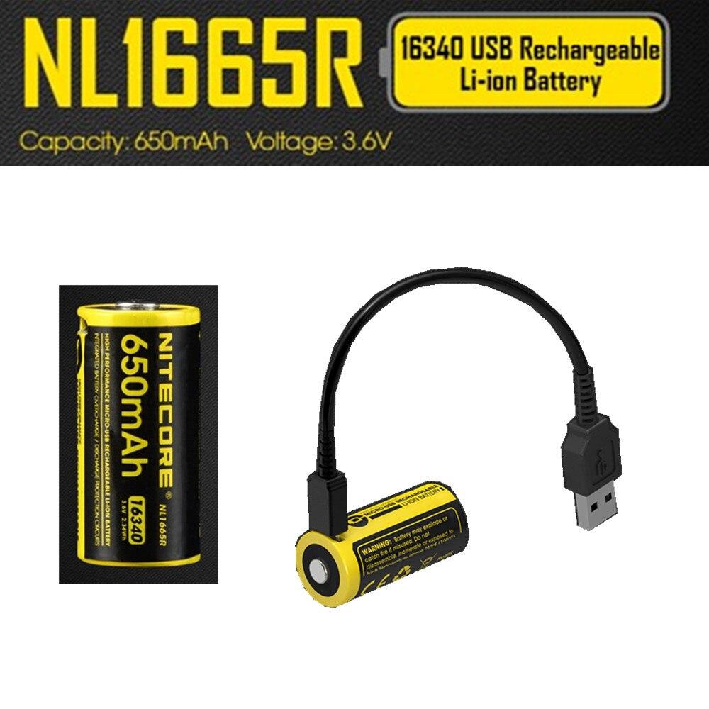 4 Uds. NITECORE NL1665R puerto de carga micro-usb integrado baterías recargables 650mah 16340 batería 3,6 V salida 2A actualizado NL166