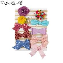 Ncmama-bandeau en Nylon à fleurs   Ensemble de 10 pièces/ensemble, bandeau élastique fait à la main pour bébés filles pour enfants, nœuds de cheveux