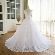 Alexzendra robe de bal robe de mariée Double col en V appliques perles robe de mariée blanche personnalisée