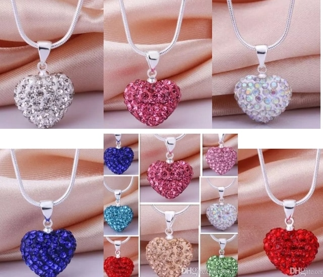 10pcs/lot 10*14mm Mix multicolor white rose silver plated snake chain heart beads crystal  necklace women men gift n264