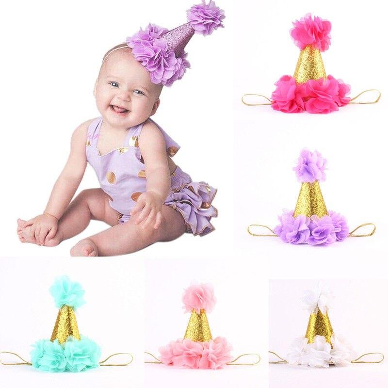 Bebés, niños, infantes niño niña princesa corona flor vincha, diadema, banda para el cabello