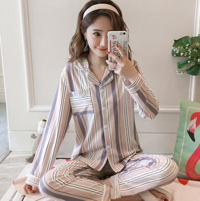 Nuevo cardigan conjunto de pijamas de las mujeres de primavera y otoño de manga larga de algodón de dulce hogar servicio conjunto de dos piezas