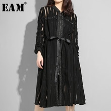 [EAM] 2020 nowa wiosna jesień stanąć kołnierz z długim rękawem czarne paski perspektywy zamek luźna sukienka kobiety mody fala JS958