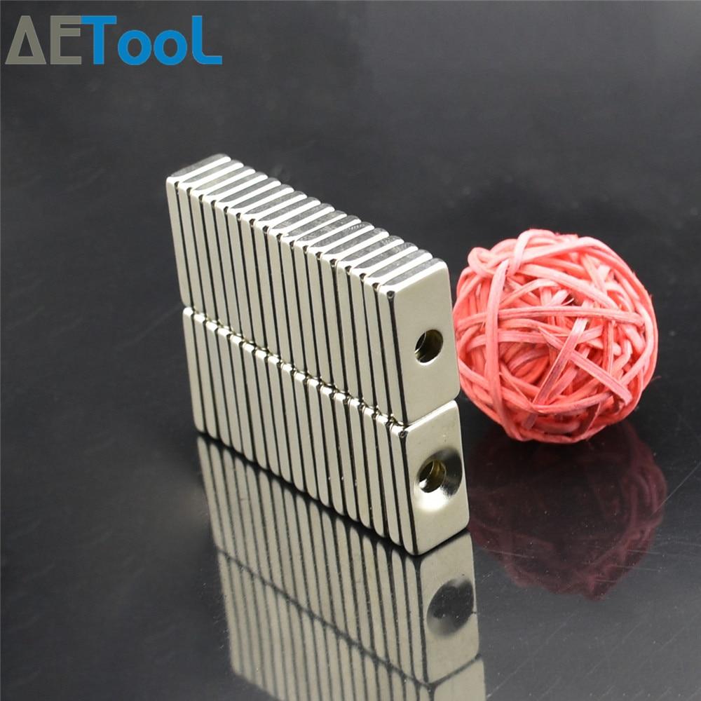 AETool 20x10x3 мм квадратный сильный магнит отверстие 4 мм редкоземельный неодимовый N52 постоянный магнит трудно отделить