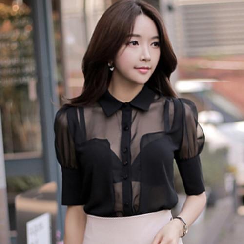 Blusa de perspectiva Sexy para Mujer camisa de Mujer Transparente manga calada Chemise Mujer Chic Top Mujer Camisas Mujer ropa femenina