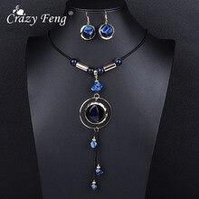 Ensembles de bijoux de mariage acrylique de luxe fou Feng pour les femmes rouge bleu Long rond pendentif collier boucles doreilles goutte ensembles cadeau