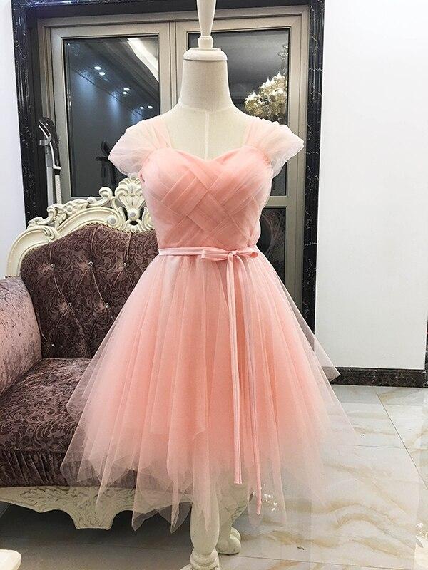 Elegant Dress Women for Wedding Party Cheap Girl Short Bridesmaid Dress Sexy Ball Gown Mini Criss-Cross Pink Color Elastic Back
