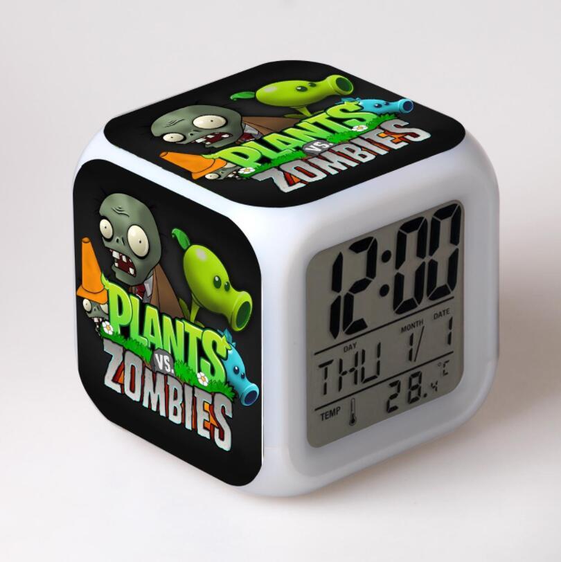Plantas Vs Zombies figuras de acción LED 7 cambio de colores luz táctil despertador de mesa reloj niños niñas juguetes #3828