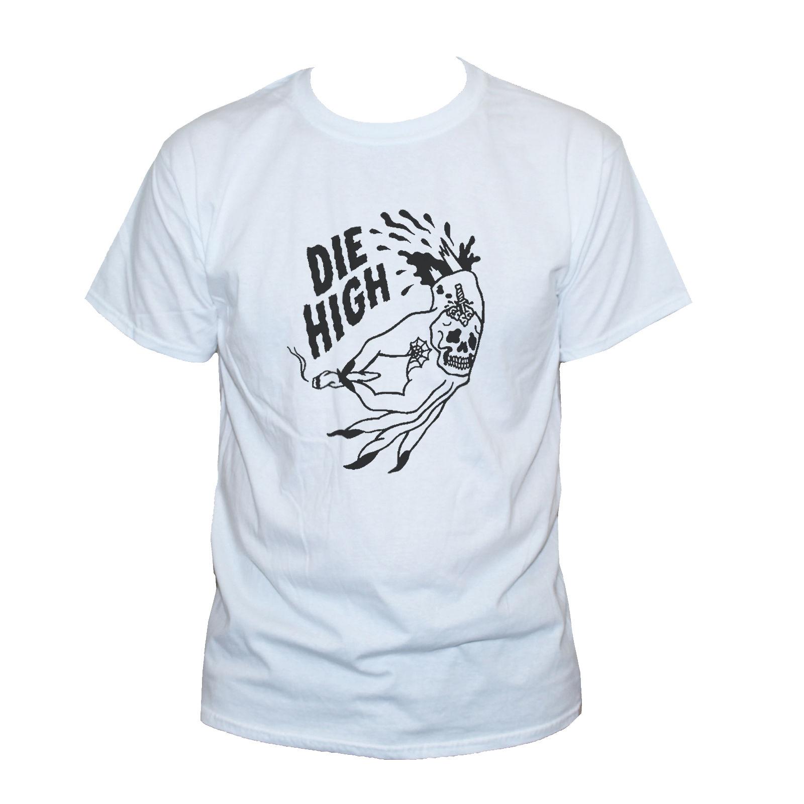 2019 nuevas camisetas DIE HIGH staped SPLIFF WEED camiseta divertida tatuaje Goth estampado con dibujo camiseta hombres 100% algodón marca nueva camisetas