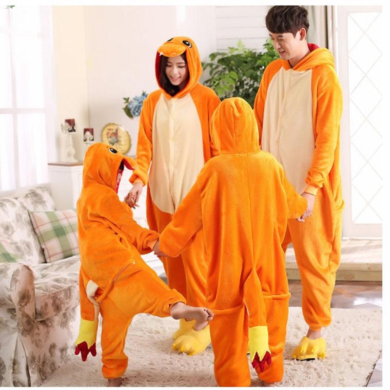 Neue Kinder anime pokemon Glurak jumpsuit Pyjamas pyjamas kostüm Nachtwäsche fire dragon Kind Partei Unisex Adult Pyjamas onesie