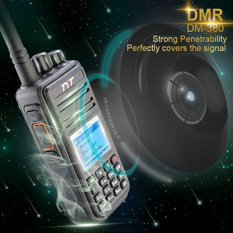 DMR Digital TYT MD380 Walkie Talkie 1000 Channels UHF MD-380 Two Way Radio + Programming Cable + CD