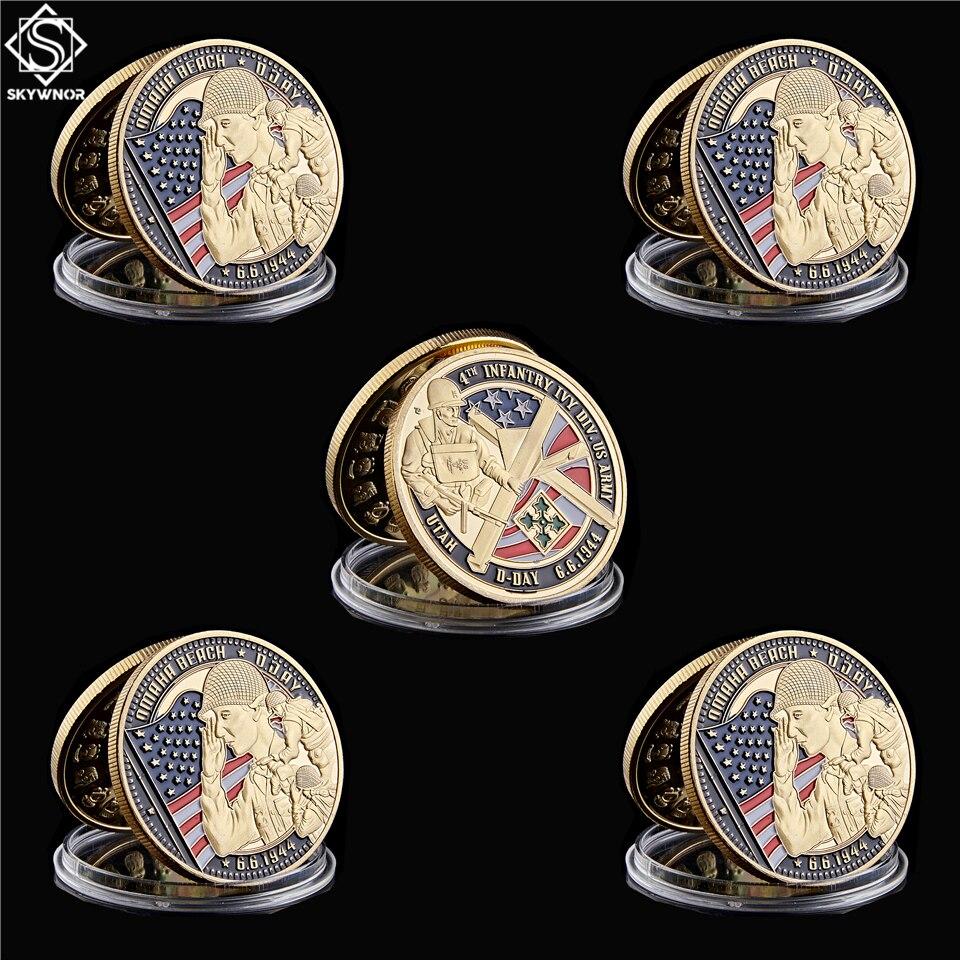5 pc 1944.6.6 infantaria ivy div us exército desafio moedas ouro utah d-dia moedas colecionáveis com proteger a cápsula da moeda