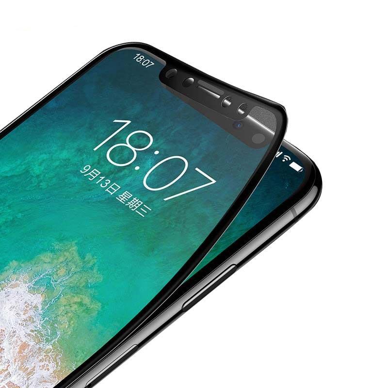 Lofter funda completa templada de vidrio para iPhone X XS Protector de pantalla de fibra de carbono borde suave 9H película de dureza 3D Protector de relieve