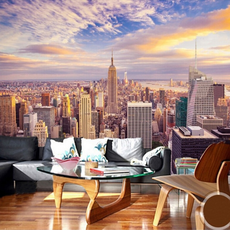 Modern New York City Building Landscape 3D Wall Mural Photo Wallpaper Living Room Cafe Restaurant Creative Decor Wallpapers Roll