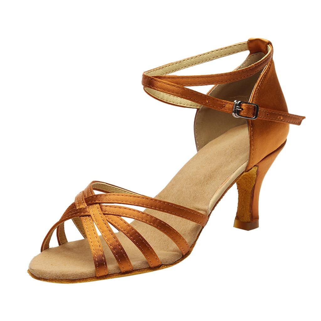 Sandalias de alta calidad para niñas, sandalias de talla grande para mujeres, a la moda, baile de Rumba Vals, baile de graduación, Salsa latina, sandalias, zapatos #515