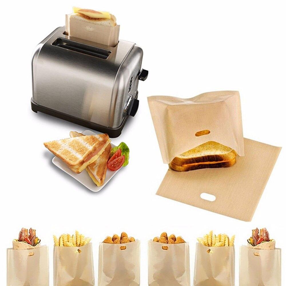 2 uds bolsas para tostadora para sándwiches de queso a la parrilla fácil reutilizable antiadherente bolsas para pan tostado
