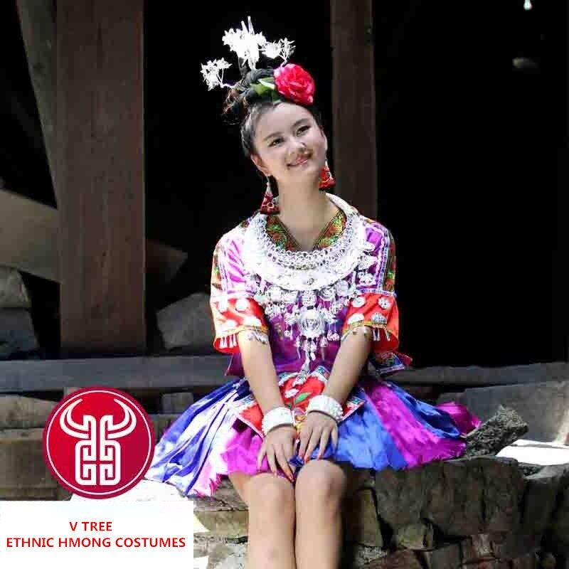 Traje tradicional étnico de Tujia/Dong/Miao, nueva falda de baile de folklórico de China colorida para mujer, conjuntos con cuello de plata hmong