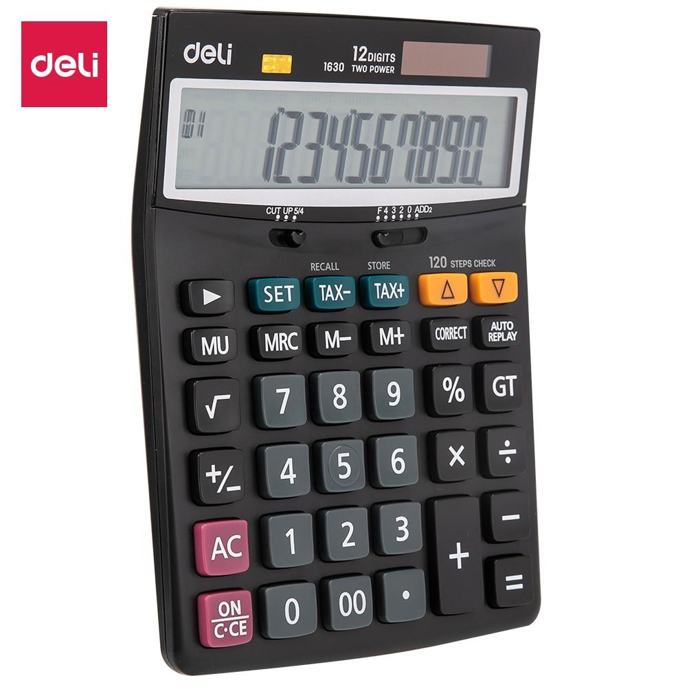 Deli E1630 Calculator - 120 steps check Tax Calculators 12 digit - Battery & Solar Dual power office business supplies