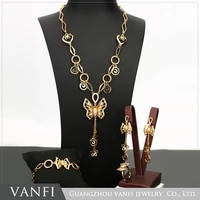 fashion bridal butterfly flower jewelry set crystal bride necklace earrings set shining gold color wedding jewelry 4 sets