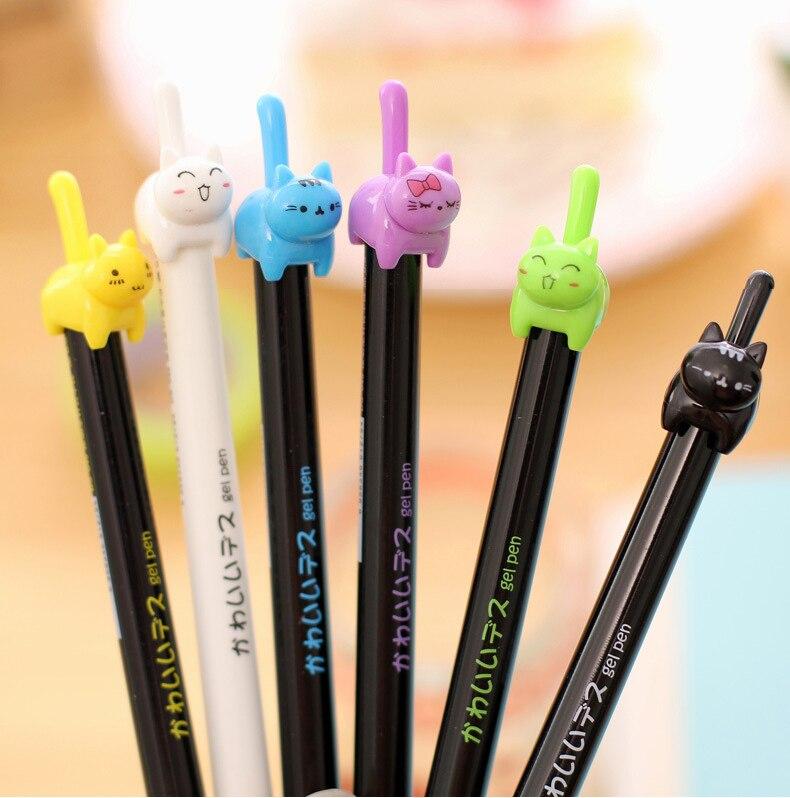 Bolígrafo de gel kawaii de 48 uds, bolígrafos de gel con cola de gato batir creativos bonitos para la escuela, material de oficina para estudiantes coreano, stylo estacionario