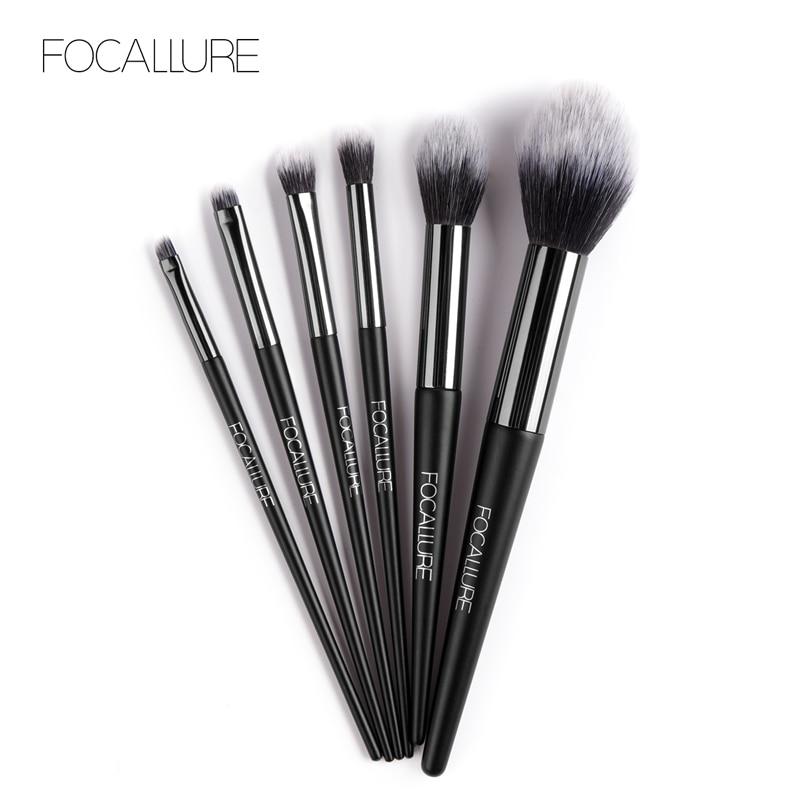 FOCALLURE 6 pcs Makeup Brush Set Professional High Quality Soft Cosmetics Blush Eyeshadow Brush for Makeup недорого
