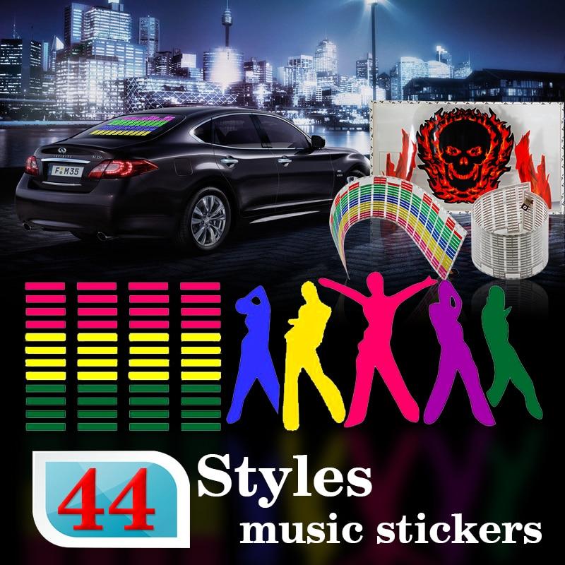 114*30cm Led EL sheet Light red green yellow blue purple pink colorful Car Music sticke Music Rhythm Equalizer 3D Flash