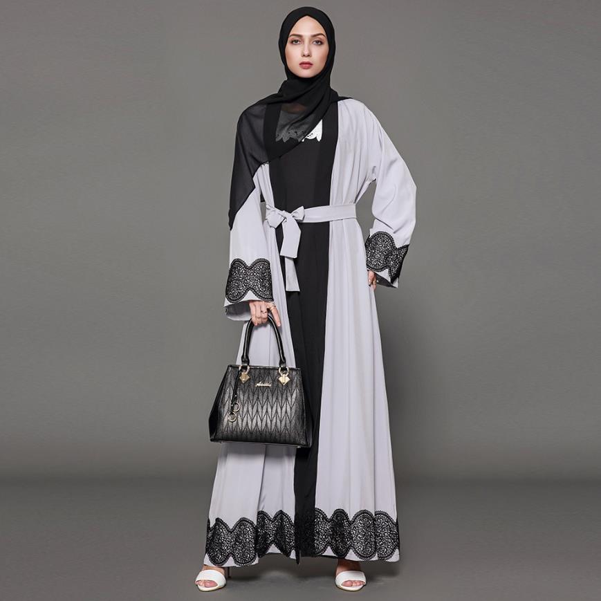 S-5XL plus size adulto casual laço robe mussulmane turco dubai moda abaya muçulmano vestido de renda vestes serviço adoração árabe wj1471