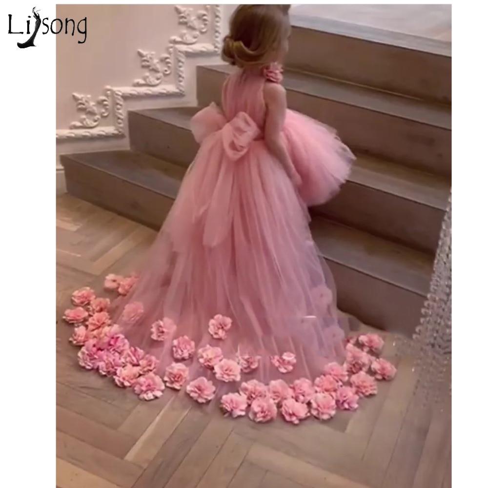 Bonito tutú de flores en 3D, vestidos de alto bajo desfile para niñas, vestidos de tul con volumen y flores para niñas, vestidos bonitos de comunión 2019