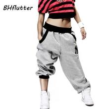Pantalon BHflutter femme grande taille Harem pantalon Hip Hop Streetwear pantalon de danse taille haute pantalon Long hiver 2018