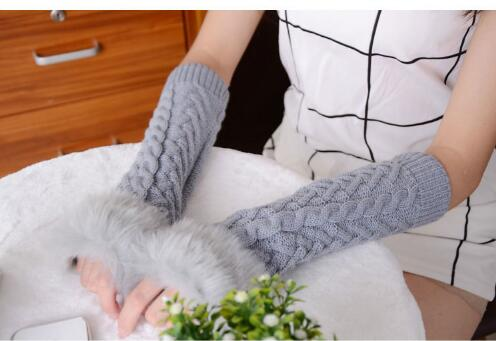 50 pairs Women Gloves Sleeves Fingerless Autumn Winter Warm Hand Knit Opera Arm Half-Finger Arm Sleeve Longer Section Mittens  - buy with discount