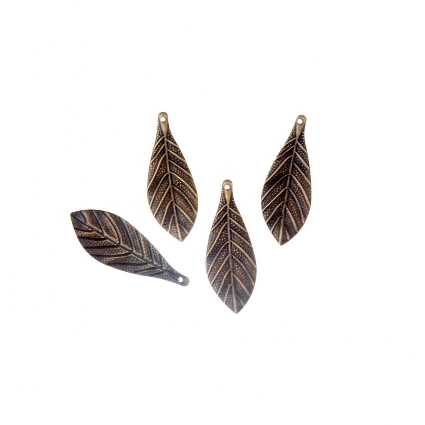 Free shipping 20Pcs Bronze Filigree Leaf Wraps Connectors Metal Crafts Decoration DIY Findings Connectors 36x13mm F1810