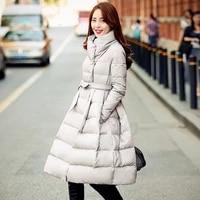 2017 real ukraine quality new winter coat women jacket a knee fashion long skirt female thick womens down parkas manteau femme