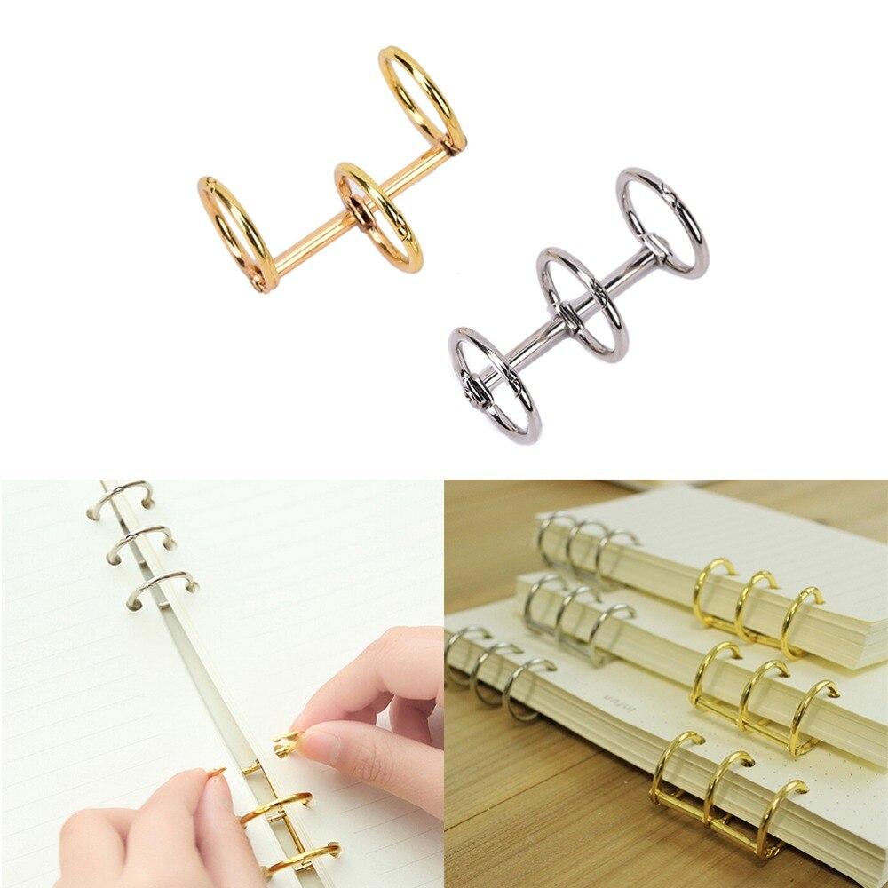 Cuaderno suelto práctico encuadernador de hojas 3-anillo oro plata hoja suelta Metal dividido con bisagras anillos Scrapbooking carpeta álbum calendario