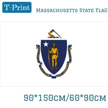 60*90cm 150x90cm State Of Massachusetts Flag USA Flag 3x5ft Banner With Brass Grommets For Home Deco