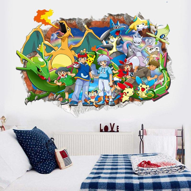 Dibujos Animados 3D pokemon Elf Pikachu PVC pegatinas de pared adhesivas arte mural decoración del hogar niños dormitorio cumpleaños gi