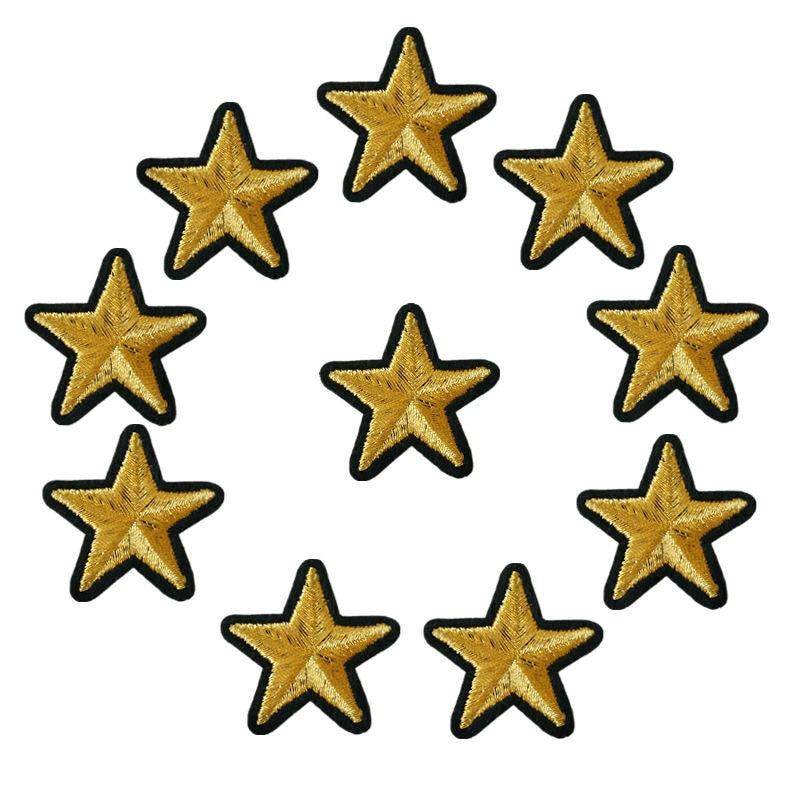 10 Uds. Parches bordados de estrellas doradas para coser placas para planchar para bolso de Vestir Jeans Hat T Shirt DIY Appliques Craft Decoration