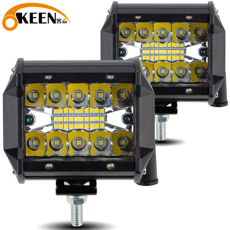 OKEEN 4 polegada 60W LED Bar LED Car Light Work 12V 4WD 24V Carro luz Offroad Truck trator Reboque Do Barco 4x4 SUV ATV Mancha Flood Luz