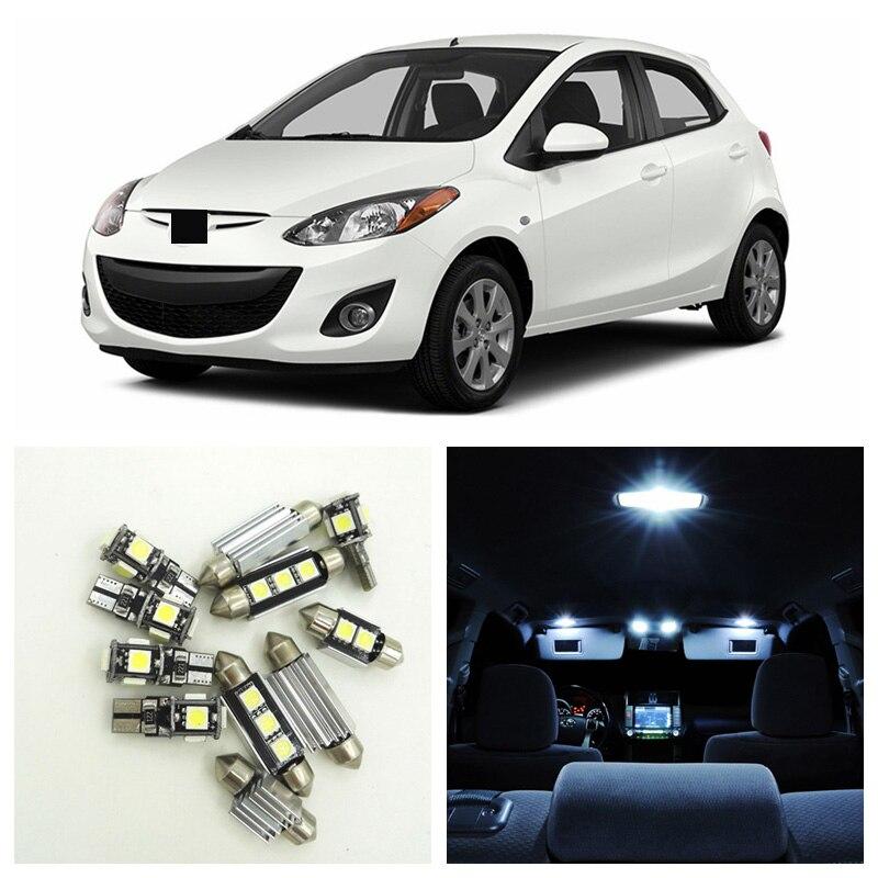 8 Uds blanco bombillas de luz LED para coche Kit de paquete de interiores para 2011, 2012, 2013, 2014 Mazda 2 Dome para maletero o matrícula lámpara