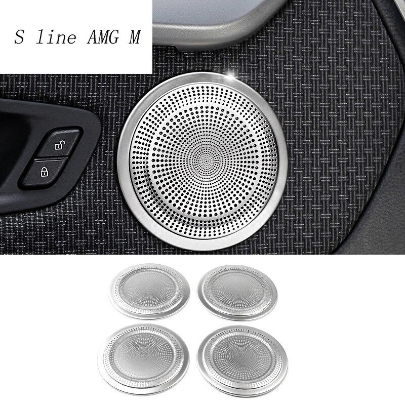 Pegatinas de acero inoxidable para decoración de coche, altavoz de Audio para coche, cubierta embellecedora de altavoz para BMW X1 F48, accesorios interiores para automóviles