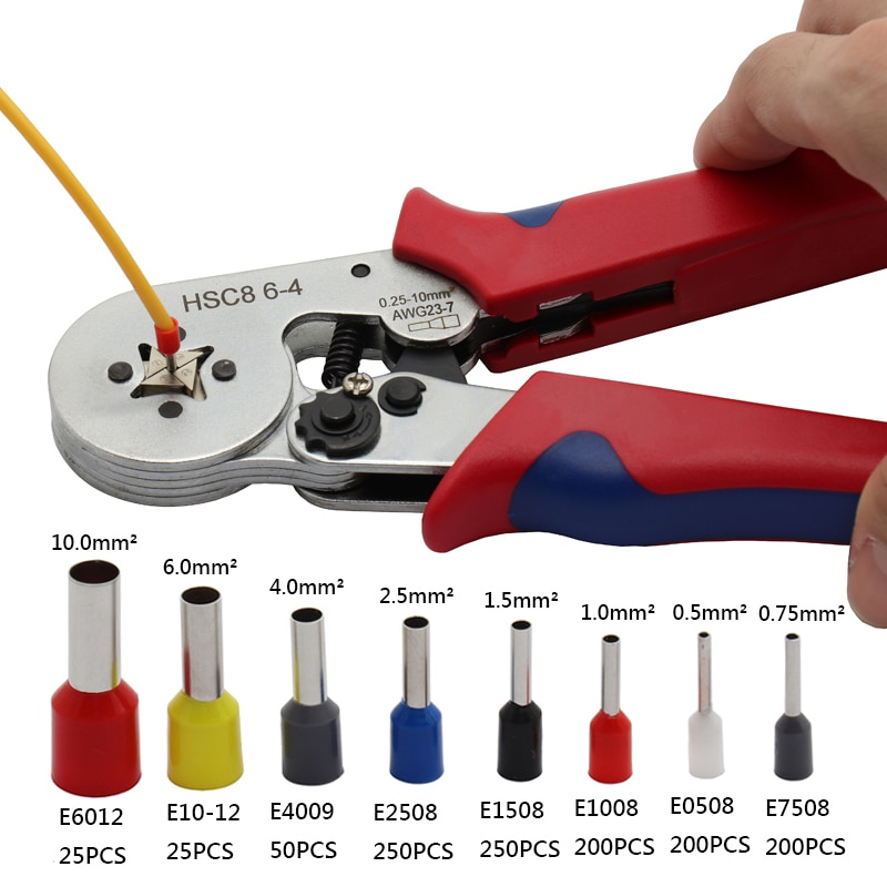 Samonastawne szczypce do zagniatania 0,25-10mm2 ze złączem do zaciskania końcówek 1200, rurowe narzędzie do zaciskania końcówek, narzędzie ręczne