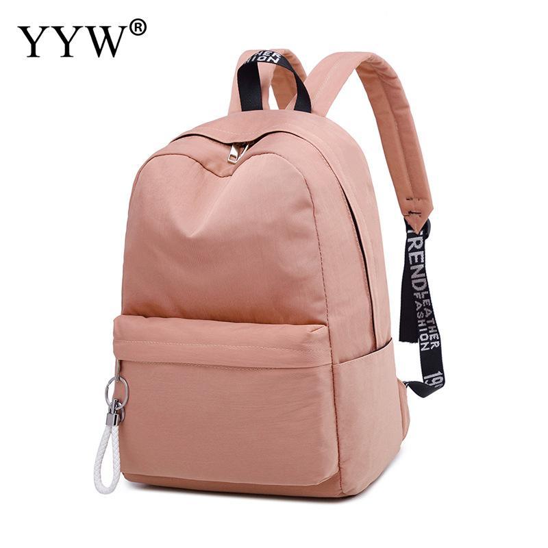 Mochila rosa de reducción de carga para mujer, Mochila escolar impermeable de gran capacidad, Mochila con lazos para adolescente