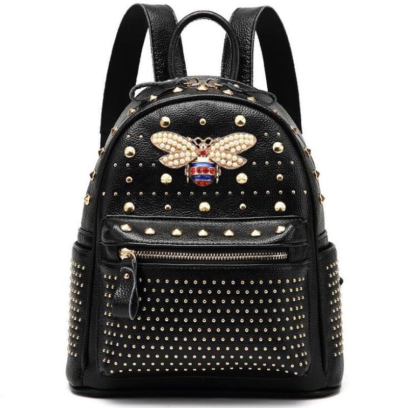ANNRMYRS 2021 New Come fashion Women Bag Diamond Bee Bags Pearl Rivet Travel Shoulder Bag PU leather School Backpack Female Bag