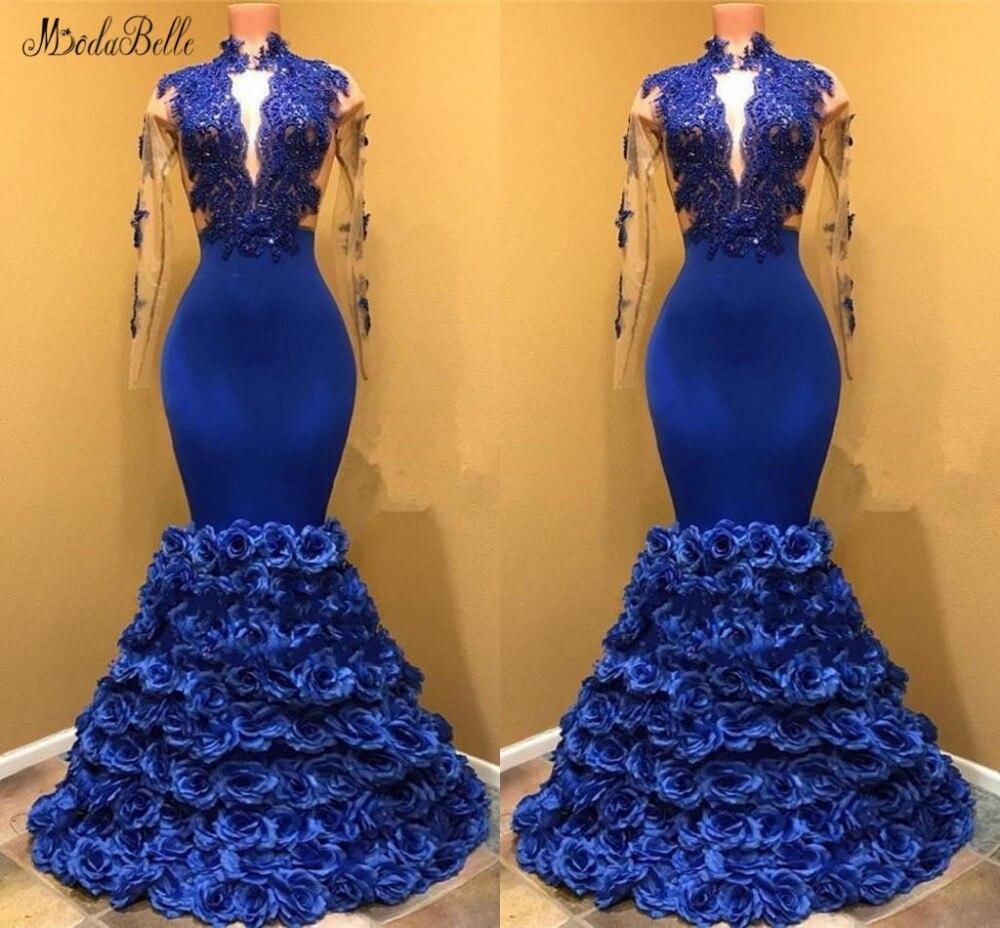 Modabelle 3D flores vestido azul real Avondjurken 2019 alto cuello sirena Vestido De manga larga vestido De noche De Soiree Longue