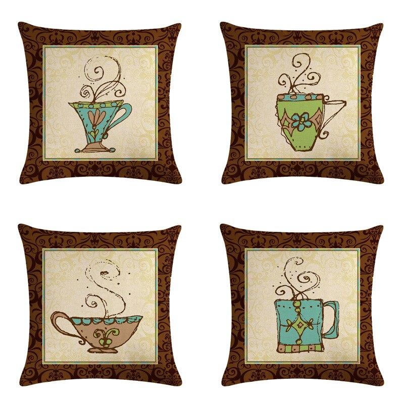 Funda de cojín de madera Vintage, funda de almohada con taza de café y Chocolate caliente, funda de almohada decorativa para el hogar, cojines